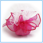 12x Designer Organza Gift Bags for Weddings & Party Favours - 28cm square - Fusia Pink and White