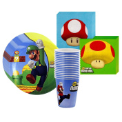 Super Mario Bros. Party Supplies Pack Including Plates, Cups, and Napkins - 16 Guests