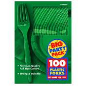 Festive Green Big Party Pack Forks (100) Party Supplies