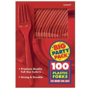 Apple Red Big Party Pack Forks (100) Party Supplies