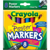 Crayola Poster Markers, Chisel Tip, Washable, 8/Box, Assorted