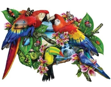 """Parrots in Paradise"" 1000 piece jigsaw puzzle from Sunsout"