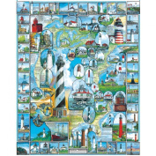 "White Mountain Puzzles By The Sea Collection Jigsaw 1000 Pieces 60cm X30""-American Lighthouses"