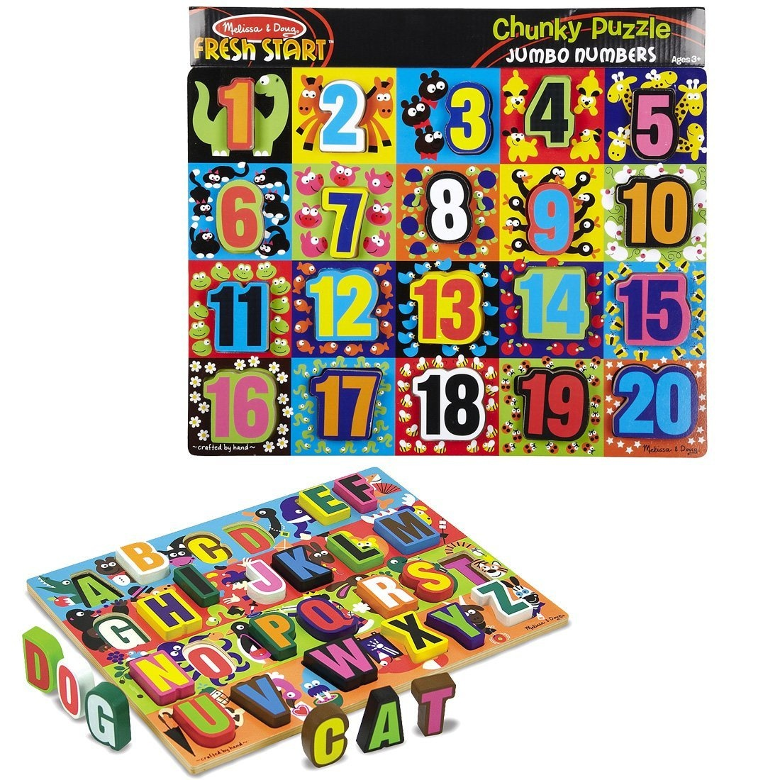 Melissa Doug Jumbo Numbers And Abc Wooden Chunky Puzzle Knob Bundle By Shop Online For Toys In New Zealand