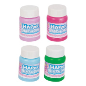Mini 30ml Happy Birthday Bubbles 24/pack - Assorted Colours