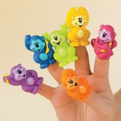 12 Neon Monkey Vinyl Finger Puppets ZOO Animal Jungle Party Favour Novelty TOY