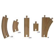 100 Piece Wooden Train Track Pack - Fully Compatible with Thomas & Friends Wooden Railway System - By Right Track Toys