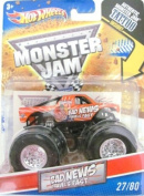 2011 Hot Wheels Monster Jam #27/80 BAD NEWS TRAVELS FAST 1:64 Scale Collectible Truck with Monster Jam TATTOO
