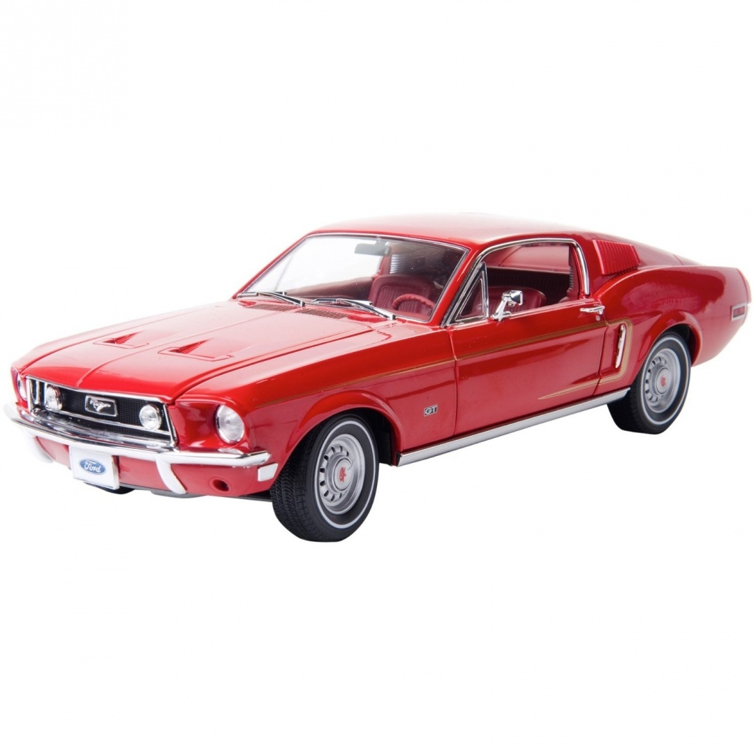Greenlight 118 1968 ford mustang gt fastback red with gold stripe with red interior by greenlight shop online for toys in new zealand