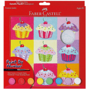 Paint By Number Kit 23cm x 23cm -Cupcake Pop-Art W/Acrylic Paint Pots