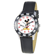 Disney Kid's Mickey Mouse Stainless Steel Time Teacher Watch - Black