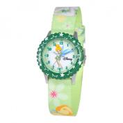Disney Kid's Tinker Bell Stainless Steel Time Teacher Watch -Green