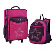 O3 O3LBPSET003 O3 Kids Luggage / Suitcase and Backpack Set With Integrated Cooler - Bling Rhinestone Star