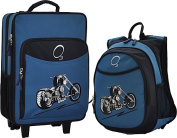 O3 O3LBPSET008 O3 Kids Luggage / Suitcase and Backpack Set With Integrated Cooler - Blue Motorcycle