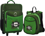 O3 Kids Luggage and Backpack Set With Integrated Cooler - Green Football