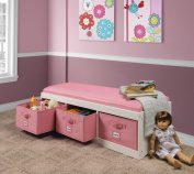Badger Basket Kid's Storage Bench with Cushion and Three Bins - White with Pink