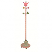 Fantasy Fields - Princess & Frog themed Wooden Kids Coat Rack Coat Tree Stand | Hand Crafted & Hand Painted Details | Child Friendly Water-based Paint