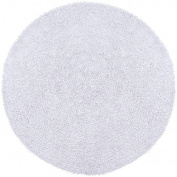 St Croix Trading Company Shagadelic White Chenille Twist 3x3 Round Area Rug