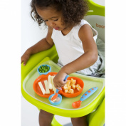 Boon Groovy and Modware Interlocking Plate and Bowl Set with Utensils - Blue Raspberry/Tangerine
