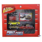 Johnny Lightning Pony Power Garage 1/64 Scale Set w/ 2 Diecast Cars