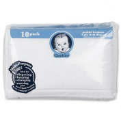Nappy Birdseye 10 Pack Prefold with Pad - White