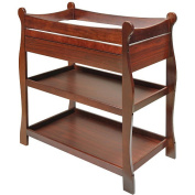Badger Basket Cherry Sleigh Changing Table with Drawer