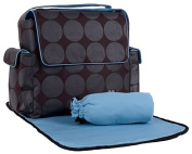 OiOi Baby Bags Messenger Diaper Bag - Charcoal/Turquoise Dot