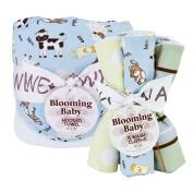 Trend Lab 20992 Bouquet Set - Baby Barnyard - Hooded Towel & Wash Cloth