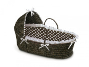 Badger Basket Moses Basket with Hood & Bedding - Espresso/Brown Dot