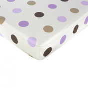 JoJo Designs Purple and Chocolate Mod Dots Collection Fitted Crib Sheet - Large Dots