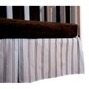 40.6cm Striped Pleated Crib Skirt - Blue & Chocolate