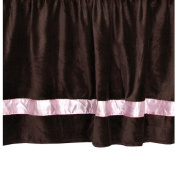 40.6cm Chocolate Minky Dust Ruffle with Pink Satin Trim