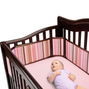 BreathableBaby Breathable Crib Bumper - Pink/Chocolate Stripes