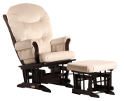 Dutailier Ultramotion Sleigh Glider Rocker and Ottoman Combo -  Espresso Finish Micro Sand Fabric