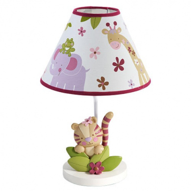 NoJo Sweet Jungle Babies Lamp and Shade with bulb