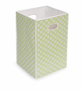 Badger Basket - Folding Hamper/Storage Bin, Sage with White Polka Dots