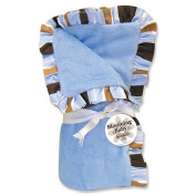 Trend Lab 101296 Receiving Blanket - Blue Velour withMax Stripe Ruffle