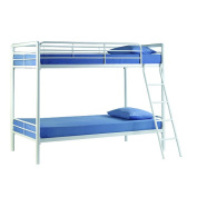 DHP Twin-Over-Twin Bunk Bed with Metal Frame and Ladder, Space-Saving Design, White