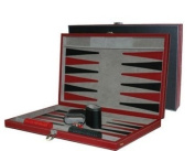 CHH 3042M 38cm Black and Red Leatherette Backgammon Set