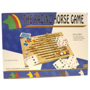 Racing Horse Family Game Wood Board, Include 100 Gaming Chips, a Deck of Playing Cards and Two Dice
