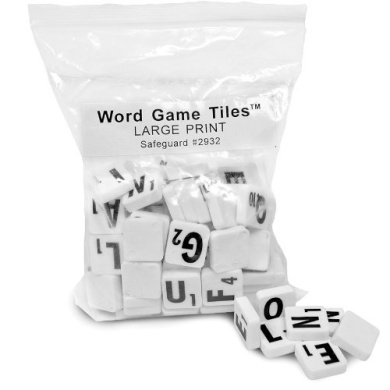 Large Letter Tiles for Low Vision Scrabble Players