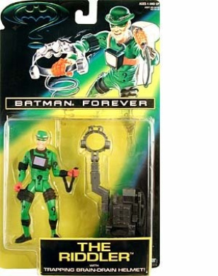 13cm Jim Carrey As the Riddler Action Figure with Trapping Brain-Drain Helmet! - Batman Forever: The Movie