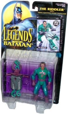 Kenner Year 1995 Legends of Batman 13cm Tall Action Figure - The RIDDLER with Firing Question Mark Launcher and 2 Question Mark Projectiles