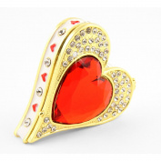 "Objet D'Art Release #360cm Queen Of Hearts"" Casino Playing Card Suit Handmade Jewelled Enamelled Metal Trinket Box"