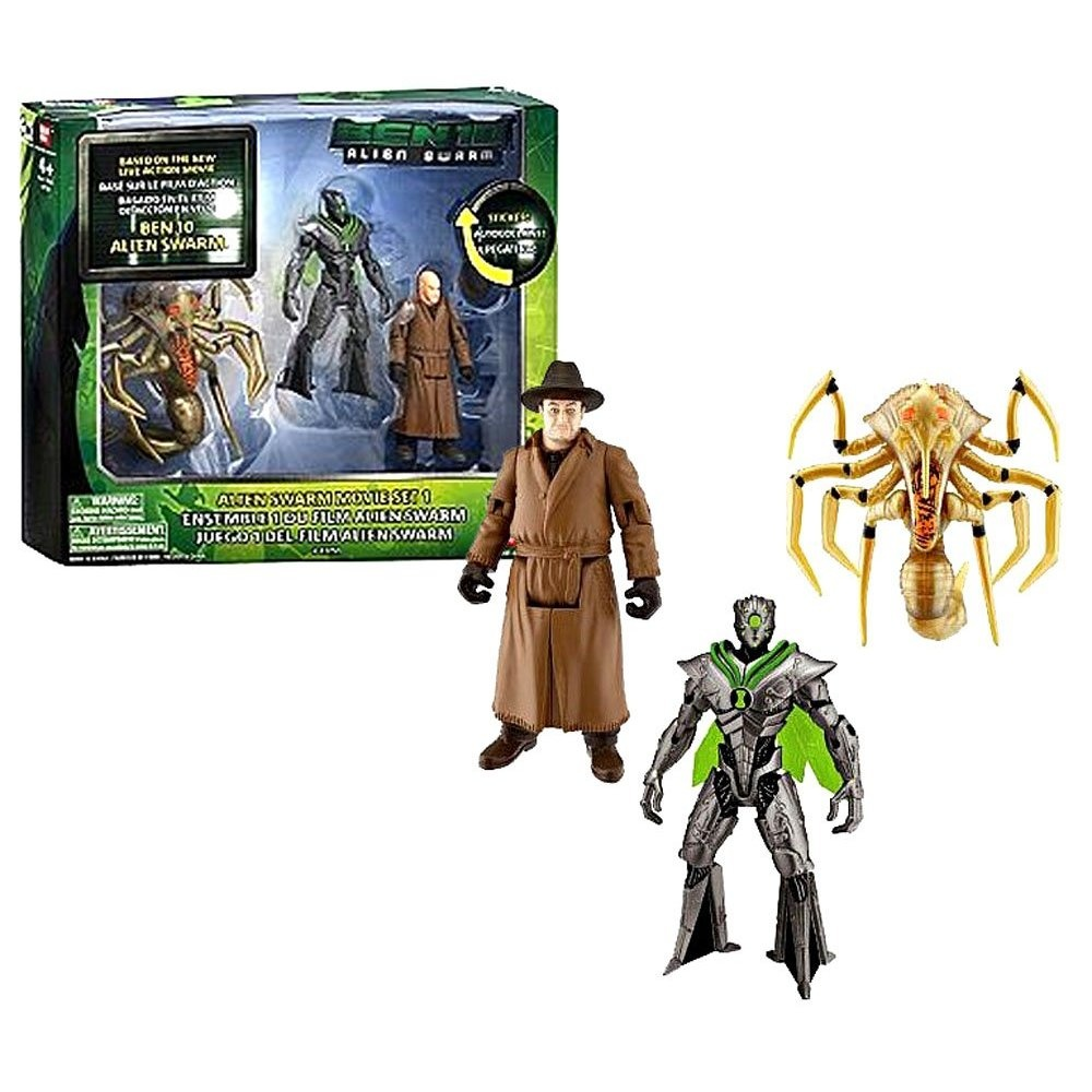 Bandai Ben 10 Movie Collection Series 3 Pack 10cm Tall Action Figure Set -  Alien Swarm Set 1 with Alien Queen, Nanomech and Validus