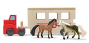 Wooden Toy Horse Trailer with Toy Horses