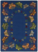 Joy Carpets 1541C Butterfly Delight 5 ft.4 in. x 7 ft.8 in. 100 Pct. STAINMASTER Nylon Machine Tufted- Cut Pile Educational Rug