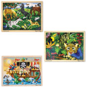 Melissa & Doug Deluxe Wooden 48-Piece Jigsaw Puzzle Bundle - Pirates, Rainforest, and Frolicking Horses