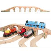 Orbrium Toys 6 Arches Viaduct Bridge for Wooden Railway Track Fits Thomas Trains Brio Chuggington set