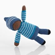 Pebble crochet pixie rattle - Birch - blue